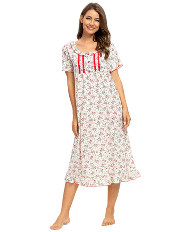 Floral Print Ruffle Sleep Dress In Red - Mint Limit