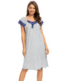 Floral Print Lace Sleep Dress In Blue - Mint Limit