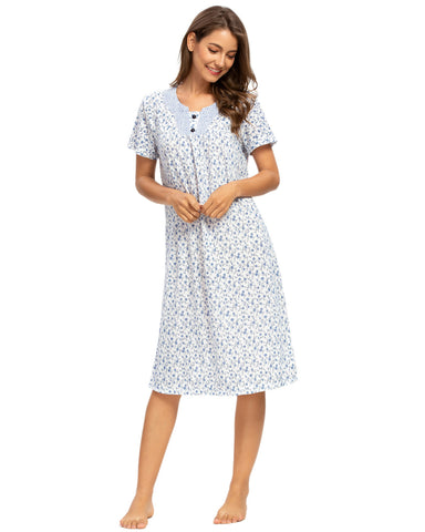 Floral Print Button Nightdress In Blue - Mint Limit