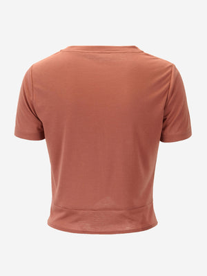 Twist Front Crop T-Shirt In Brown - Mint Limit