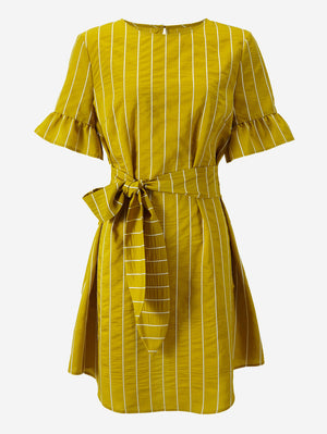 Flounce Sleeve Stripe Knot Front Dress - Mint Limit