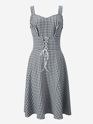 Lace Up Corset Gingham Dress - Mint Limit