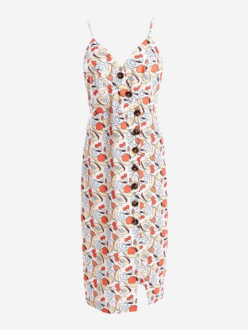 Button-Down Midi Dress In Fruits - Mint Limit