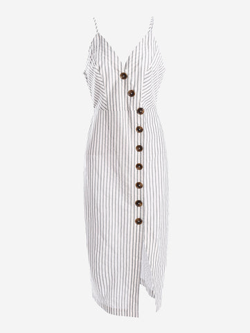 Button-Down Midi Dress In Stripe - Mint Limit