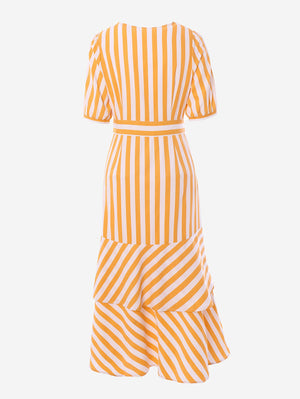 Wrap Midi Dress In Yellow Stripe - Mint Limit