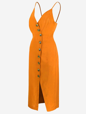 Button-Down Midi Dress In Orange - Mint Limit