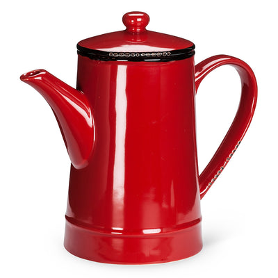 Red Enamel Tall Teapot