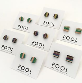 Square Pool Stud Earrings