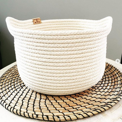 Basin Handcrafted Coiled Rope Basket