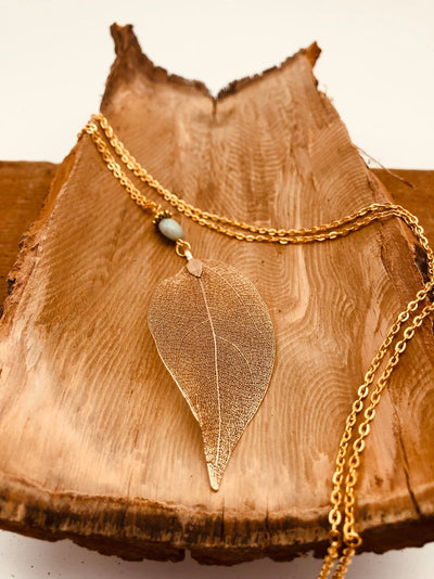 Gold Leaf Amazonite Necklace