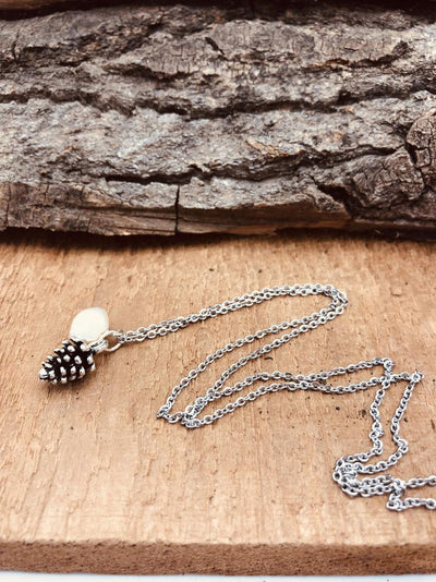 Mini Pinecone with Pearl Necklace