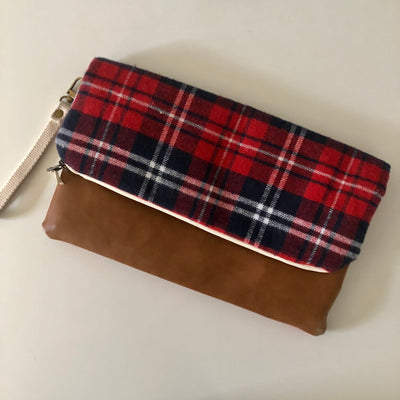 Plaid Large Foldover Clutch