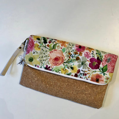 Watercolour Floral Foldover Clutch