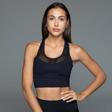 Load image into Gallery viewer, Fitplan Mesh Sports Bra Black