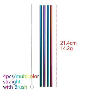 COLORFUL REUSABLE DRINKING STRAW - 4 PCS