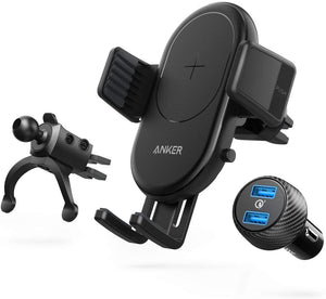 ANKER WIRELESS CHARGER حامل هاتف محمول للسيارة ANKER  POWERWAVE 7.5 CAR MOUNT 2-PORT QUICK CHARGE 3.0  - أسود
