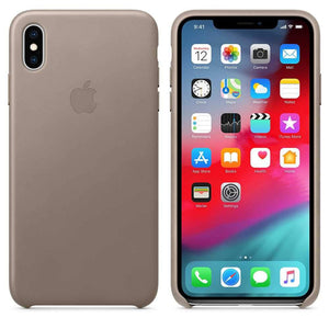 Apple Case & Cover كفر جلدي أصلي لآيفون XS Max  من Apple - رمادي داكن