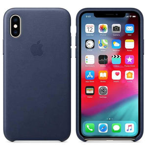 Apple Case & Cover كفر جلدي أصلي لآيفون XS من Apple - أزرق داكن