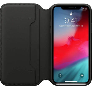 Apple Case & Cover كفر جلدي أصلي دفتر لآيفون XS من Apple - أسود