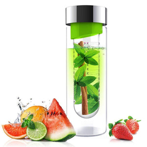 Asobu Water Bottles & Travel Tumblers ASOBU Flavor It Glass Water Bottle With Fruit Infuser Green 600 ml