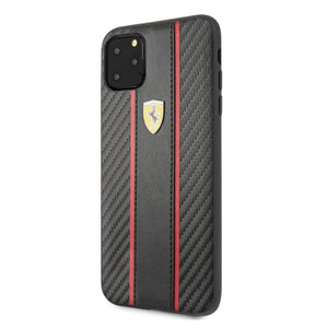 Ferrari Case & Cover كفر كربون PU لجهاز آيفون 11  Pro Max من فيراري– أسود