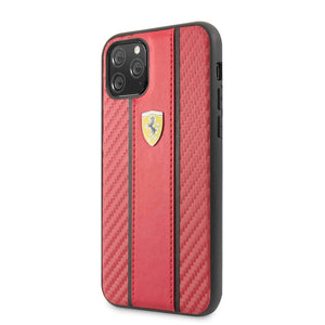 Ferrari Case & Cover كفر كربون PU لجهاز آيفون 11 Pro  من فيراري– أحمر