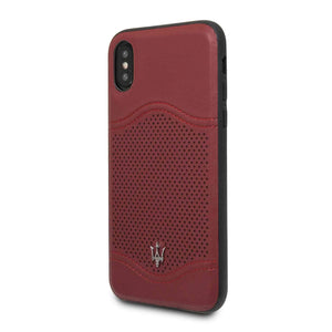 Maserati Case & Cover Maserati Granlusso Genuine Leather Hard Case for iPhone X - Burgundy