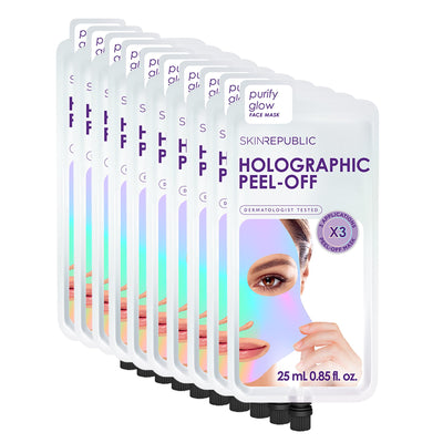 10 Pack Holographic Peel Off Face Mask (3 Applications)
