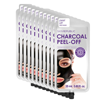 10 Pack Charcoal Peel-Off Face Mask (3 Applications)