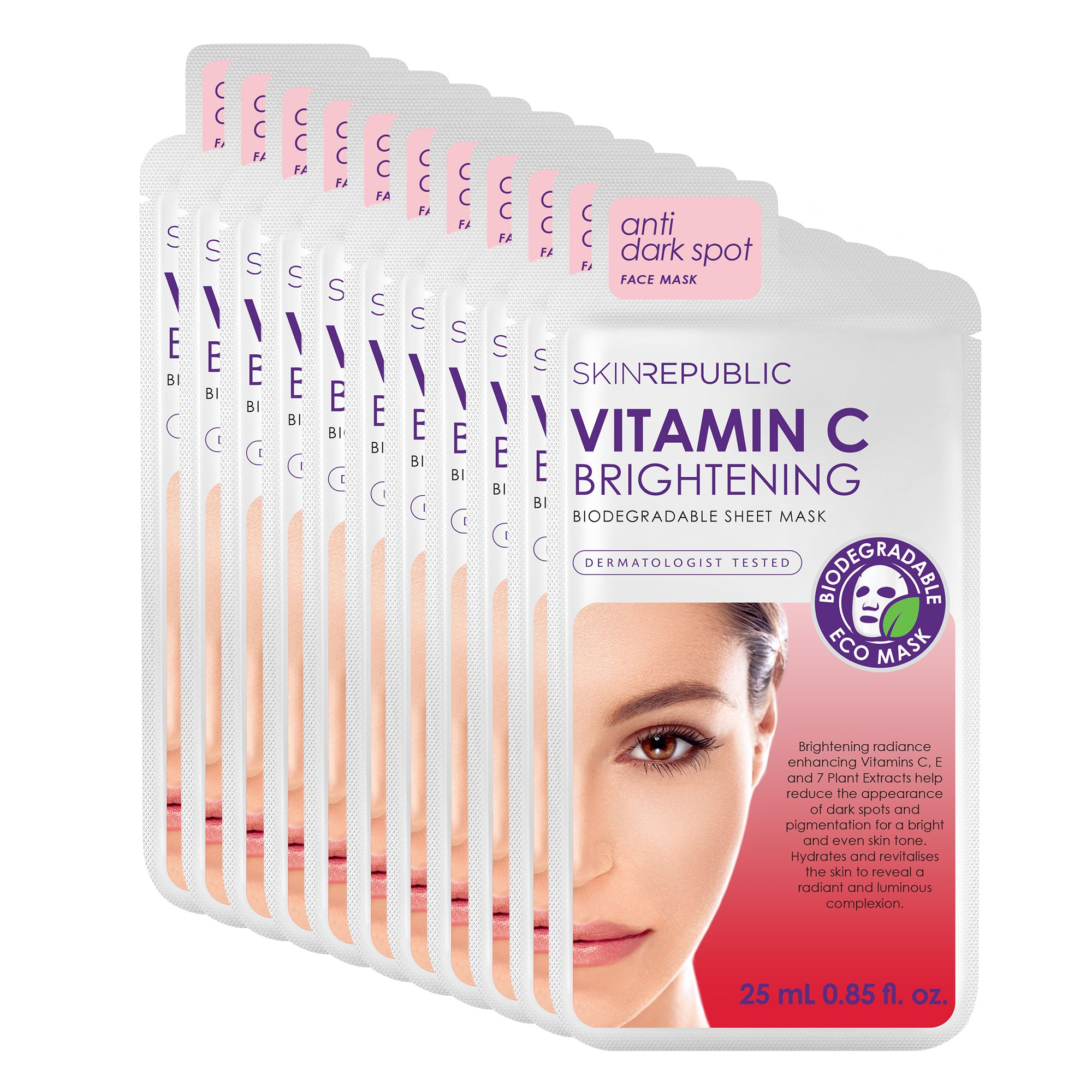 10 Pack Brightening Vitamin C Biodegradable Face Mask Sheet