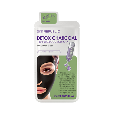 10 Pack Detox Charcoal + 10-Superfood Formula Face Mask Sheet