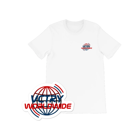 VCTRY White Worldwide Tee + Sticker