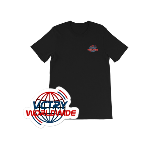 VCTRY Black Worldwide Tee + Sticker