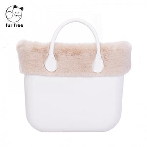 טופ דמוי פרווה לתיק O BAG קלאסי צבע בז' בהיר - FAUX FUR BRIGHT BEIGE
