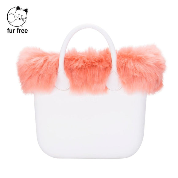 טופ דמוי פרווה לתיק O bag mini צבע ורוד - FAUX FUR TRIM BLUSH PINK