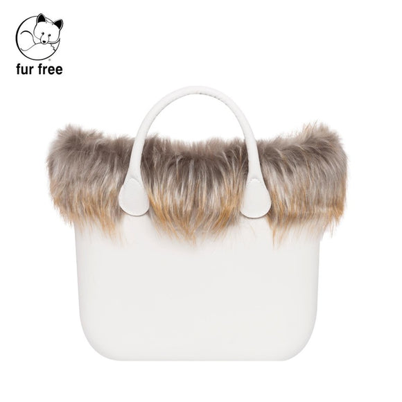 טופ דמוי פרווה לתיק O bag mini צבע אפור חלודה - FAUX FUR TRIM GREY