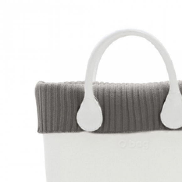 טופ צמר סרוג לתיק O bag mini צבע חאקי - KNIT WOOL TRIM DOVE