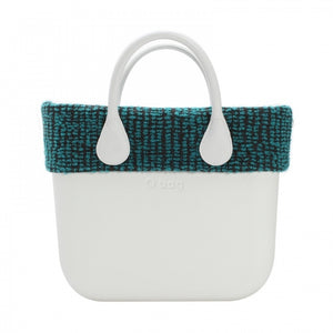 "טופ ""בוקלה"" לתיק O bag mini צבע כחול וברונזה - O BAG BOUCLE AQUA/BRONZE TRIM"