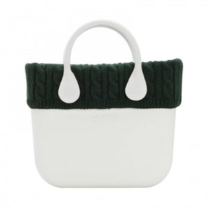 טופ צמר סרוג לתיק O bag mini צבע ירוק - KNIT WOOL TRIM GREEN