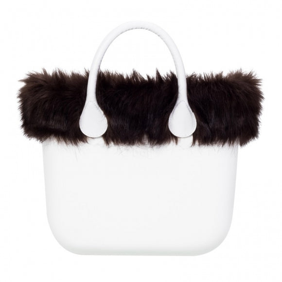טופ דמוי פרווה לתיק O bag mini צבע חום כהה - FAUX FUR TRIM DARK BROWN