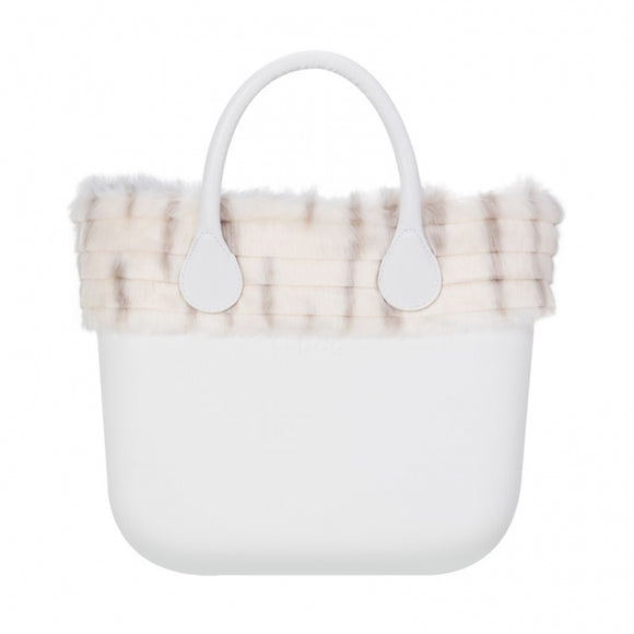 טופ דמוי פרווה לתיק O bag mini גווני שמנת - FAUX RABBIT FUR TRIM IVORY