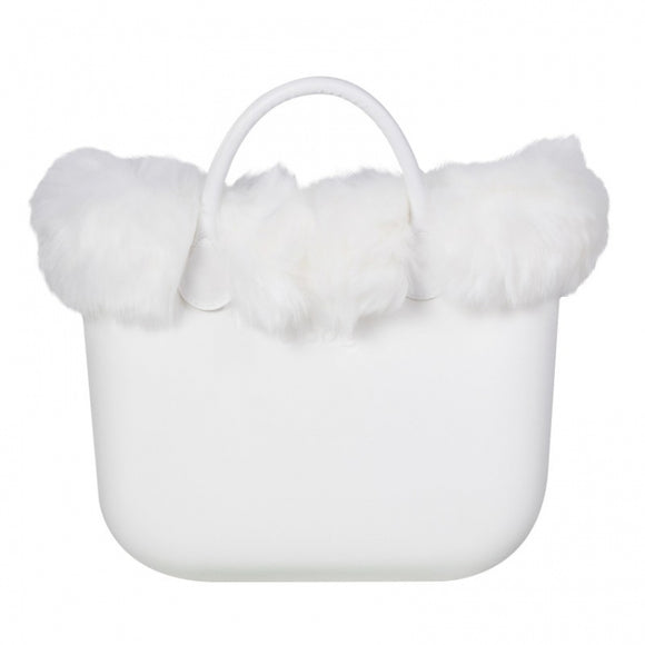 טופ דמוי פרווה לתיק O BAG קלאסי צבע לבן - FAUX FOX FUR WHITE