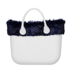 טופ דמוי פרווה לתיק O BAG קלאסי פסים שחור כחול - STRIPED BLACK & IRIS BLUE