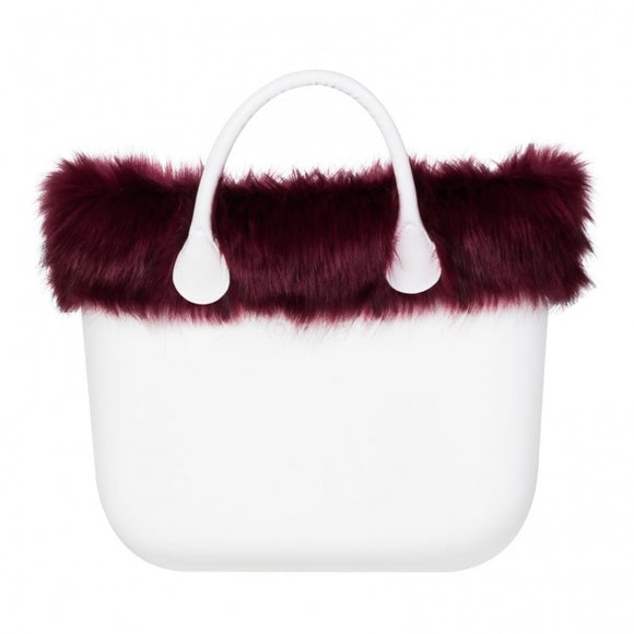 טופ דמוי פרווה לתיק O BAG קלאסי צבע אדום יין - FAUX FOX FUR WINE
