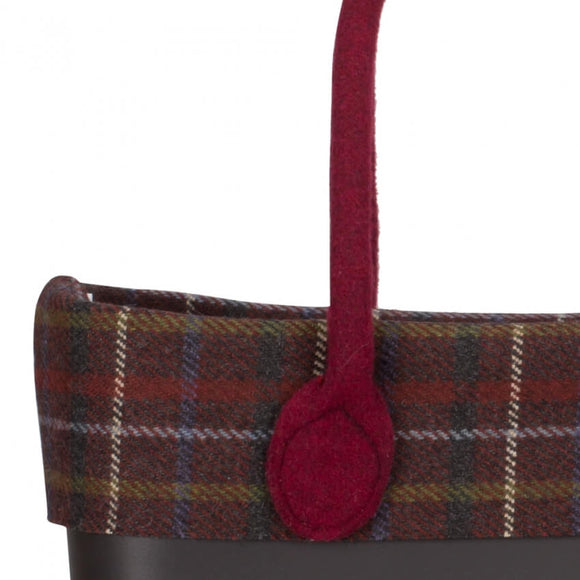 TARTAN WOOL TRIM RED - קלאסי  O BAG טופ צמר משבצות אדום לתיק