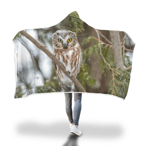 Hooded Owl Blanket-Snowy Forest