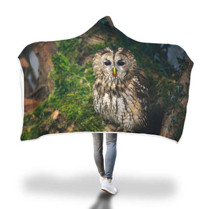Hooded Owl Blanket-Peaceful Solitude