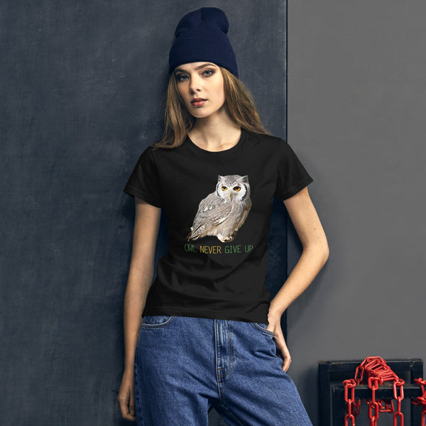 Owl Shirts for Women-Owl Never Give Up
