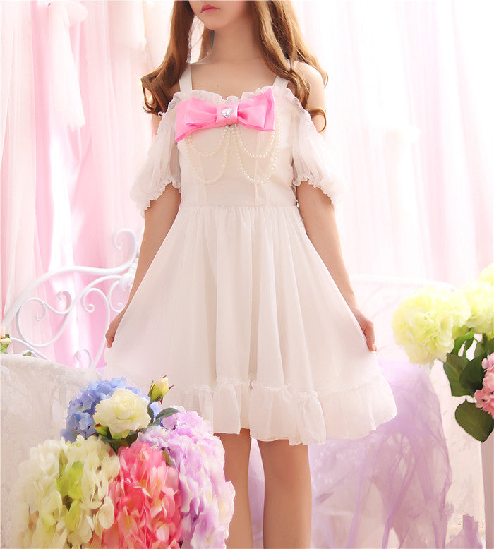 Pearl Beading Off shoulder Cute Bowknot Straps Women Summer Sweet Mini Dresses