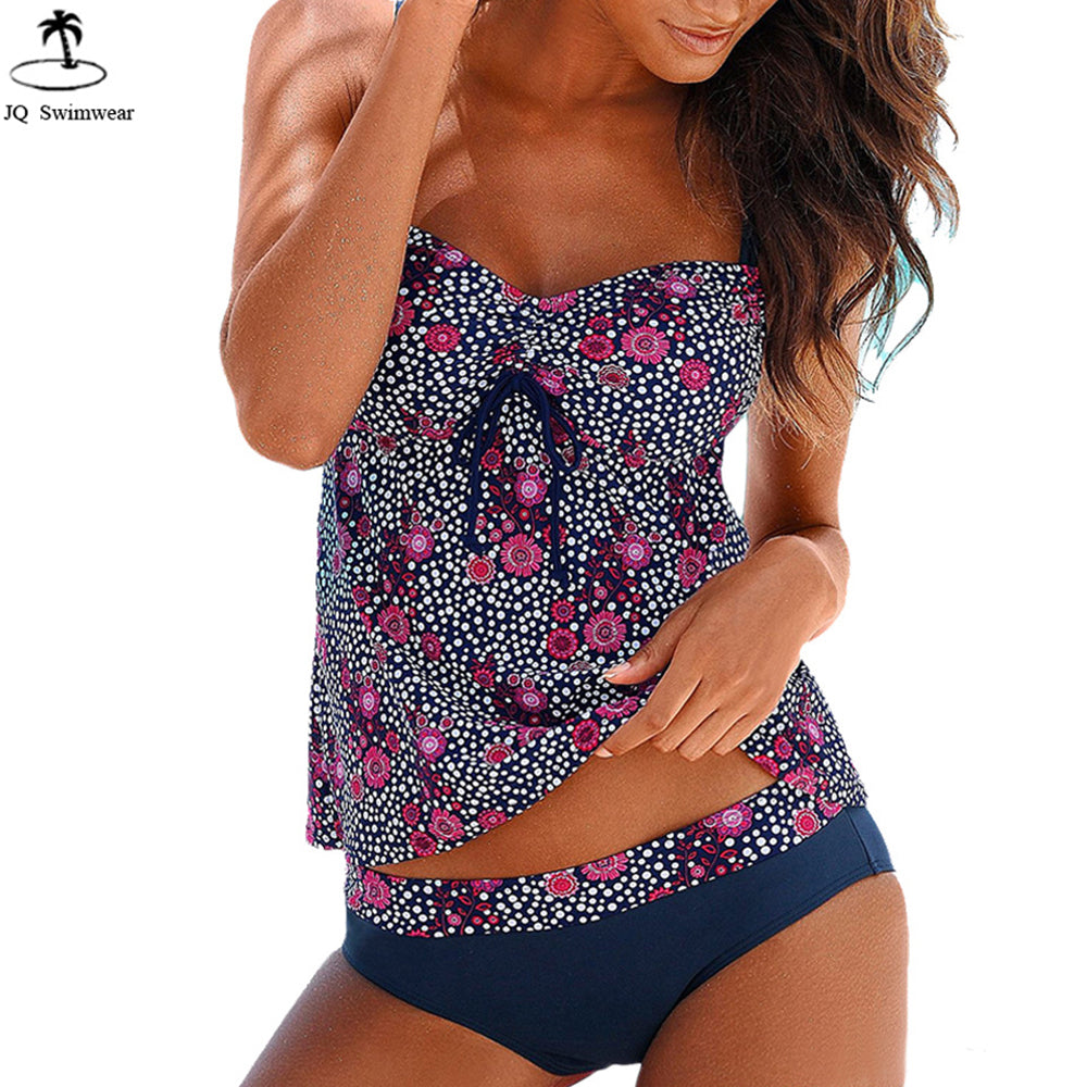 Vintage Floral Push Up Two Pieces Tankini Swimdress